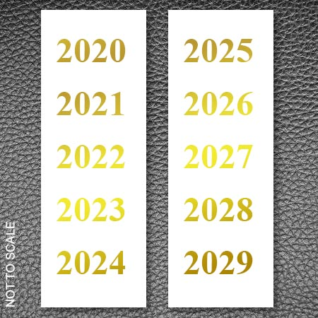 Gold foil decades labels 2020-2029